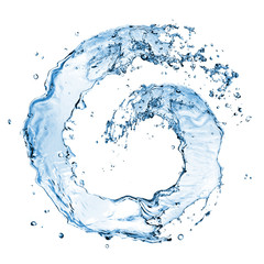 round water splash isolated on white