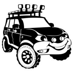 Silhouette cartoon the off-road car
