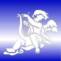 white angel playing harp