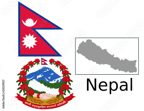 Nepal flag national emblem map\