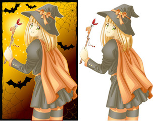 Halloween manga witch girl
