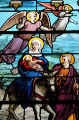 France, vitraux de l'église d'Houlgate en Normandie