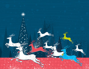 Running christmas deers in the blue forest,  vector illustration