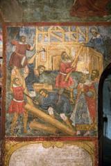 Жанровая сцена. Фреска церкви Ильи-Пророка в Ярославле