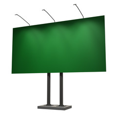 Blank green billboard, isolated on white, 3d illustration