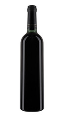 A bottle of red wine, isolated on white.