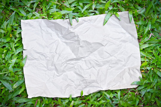 riped paper on the grass