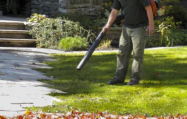 Landscaper operating Leaf Blower