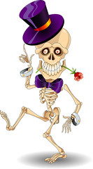 Dancing cartoon skeleton in a cylinder with rose in the teeth