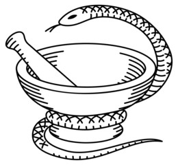 Pharmaceutical mortar, pestle and a snake.