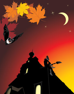 Sitting witch on the roof of castle. Halloween composition