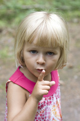 A little girl hushing