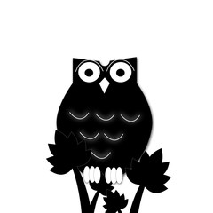 illustration of a cartoon owl silhouette,sitting on the tree