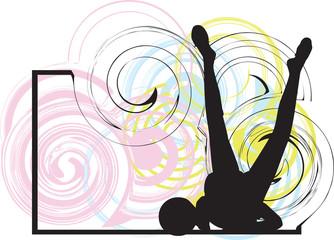Acrobatic girl illustration
