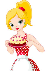 Canvas Prints Fairytale World Young Woman Holding Cake