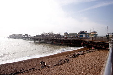 Hastings pier after being set fire to by arsonist, October, 2010