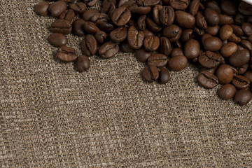 coffee beans over sacking