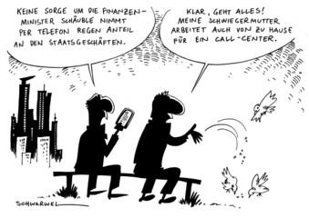 Minister Schäuble arbeitet per Telefon von zu Hause