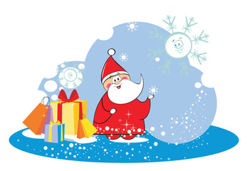 New Year Winter Christmas card with happy Santa Claus