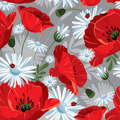 Excellent seamless pattern with with poppies and daisies