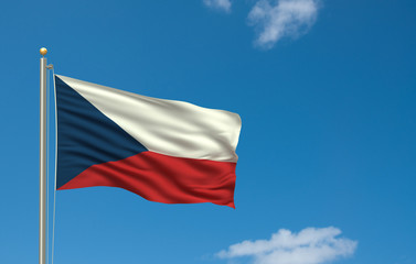 Flag Of Czech Republic Waving In The Wind Front Blue Sky