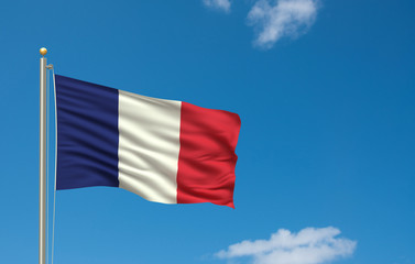 Flag of France waving in the wind in front of blue sky