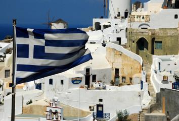 Flaga grecka na Santorini