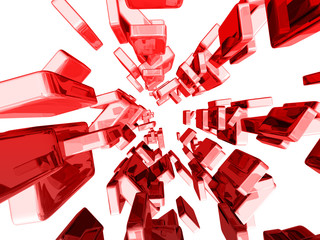 Red 3d cubes with glossy light effects