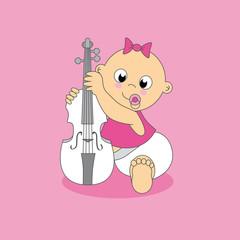 Tarjeta. Bebe niña con violín