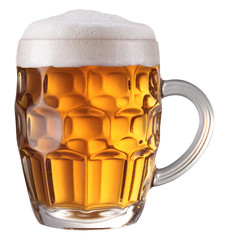 Mug full of fresh beer. File contains a path to cut.