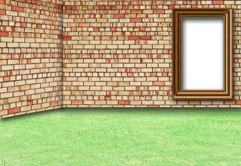 Frame Brick Wall and grass for background
