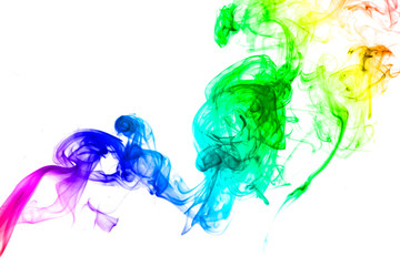 Bright colorful smoke abstract shapes