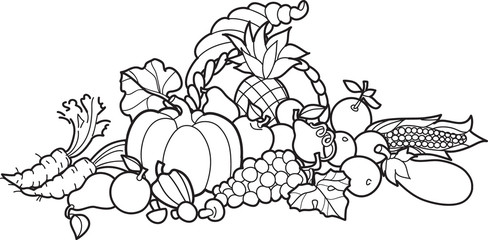 Back and White Cornucopia Illustration