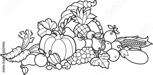 Quot Back And White Cornucopia Illustration Quot Stock Image And