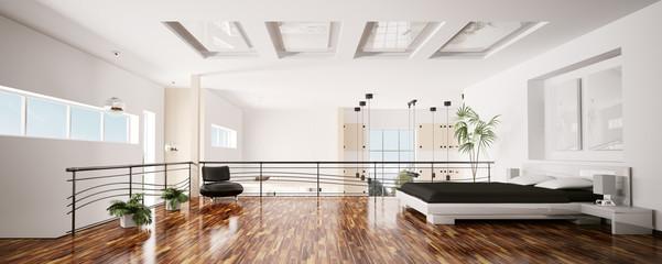Obraz Schlafzimmer interior panorama 3d - fototapety do salonu