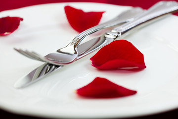 Closeup of silver cutlery and rose petals on a white plate