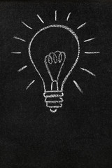 Light bulb drawn on a blackboard with copy space