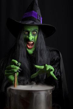 Scary witch stirring a smoking cauldron.