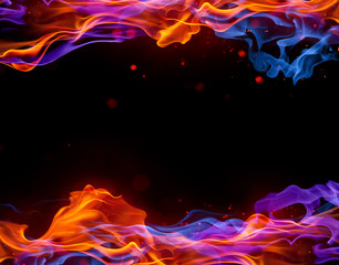Canvas Prints Fire / Flame Blue and red fire background