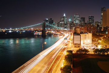 Wall Mural - Urban New York City night view