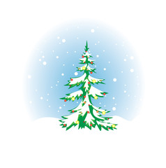 Christmas tree with snow and decoration - vector