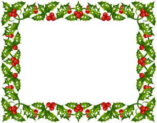 Vector Christmas and New Year holly frame