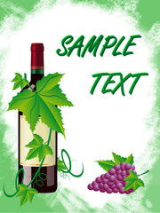 red wine and grapes is in a green frame