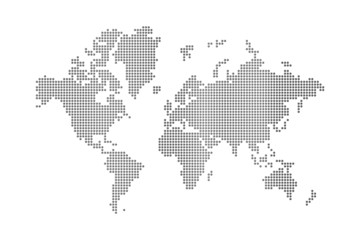 Aluminium Prints World Map dots world map