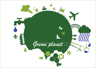 vector - green planet with design element