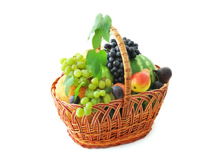 Big basket with different fruits
