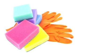 Gloves and a sponge