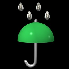 Weather symbol in the financial markets, an umbrella and a rain