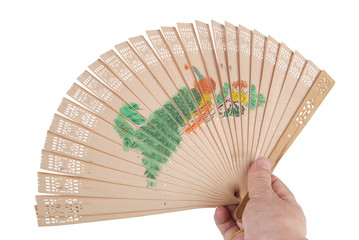 A chinese fan on white background