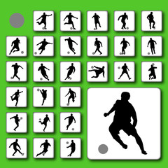 Vector button set of football (soccer) players silhouettes
